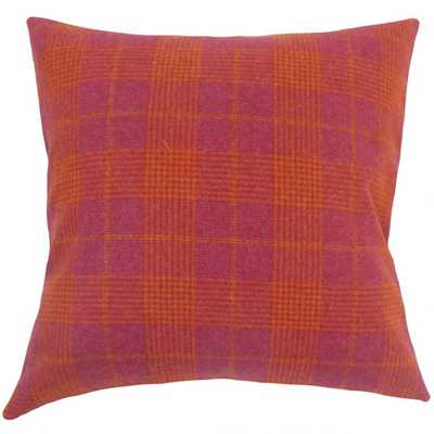 FELICIAN PLAID PILLOW PINK with down insert - Linen & Seam
