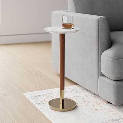 Mid-Century Drink Table, Marble & Brass & Walnut - West Elm
