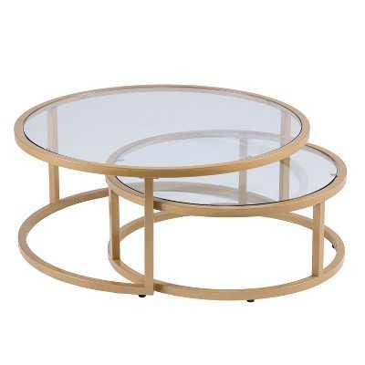 Emma Glam Nesting Cocktail Table (Set of 2) Gold - Aiden Lane - Target