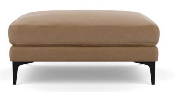 Caitlin Leather Ottoman, Palomino, Matte Black Sloan L Leg - Interior Define