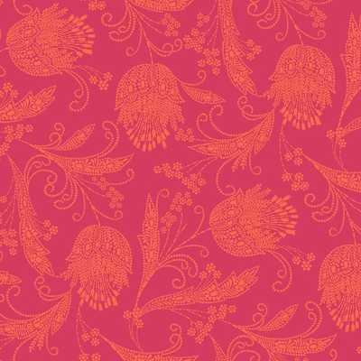 "WallShoppe Boho Floral Print Removable Wallpaper, 24""x48"", Ruby - West Elm"