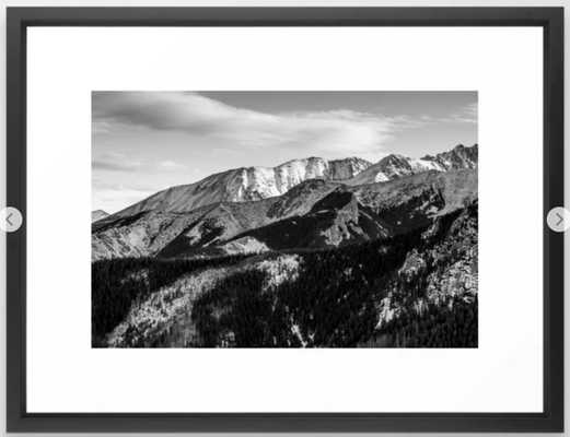Black and White Mountains Framed Art Print - Society6