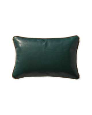 """Leather 12"""" x 18"""" Pillow Cover - Evergreen - Insert sold separately - Serena and Lily"""