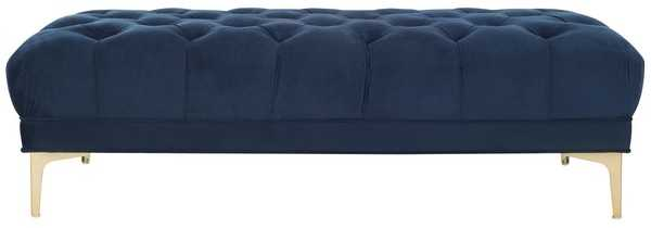 Zarya Tufted Rectangular Bench - Navy/Brass - Arlo Home - Arlo Home