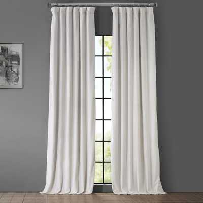 Exclusive Fabrics & Furnishings Blackout Signature Ivory Blackout Velvet Curtain - 50 in. W x 84 in. L (1 Panel) - Home Depot
