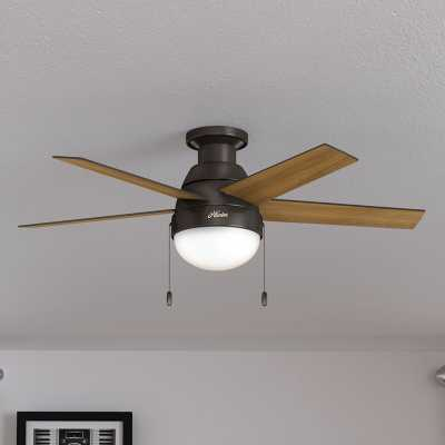 "46"" Anslee 5 - Blade LED Flush Mount Ceiling Fan with Pull Chain and Light Kit Included - Wayfair"