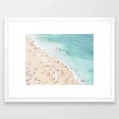 """People at the Beach Framed Art Print - Small 15"""" x 21"""" - Vector White Frame - Society6"""