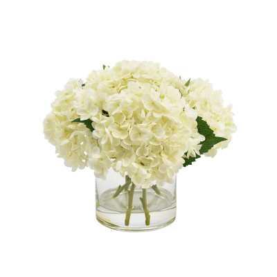 Hydrangea Floral Arrangement in Glass Vase - White - Wayfair
