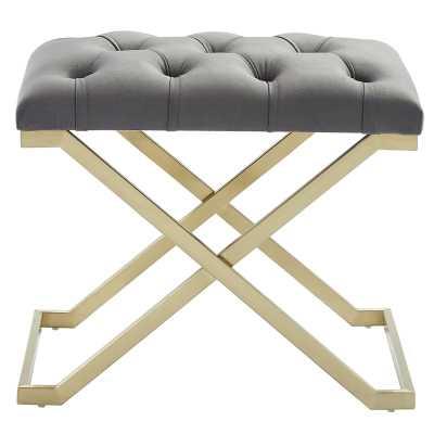 Heeter Upholstered Bench, Gray & Gold - AllModern