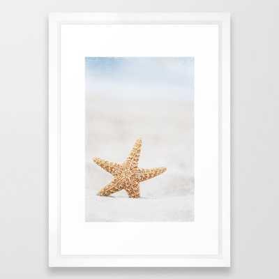 Starfish On Beach Photography, Pale Blue Beige Summer Coastal Seashore Art Framed Art Print - Society6