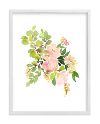 Flora in Peach II with white Wood Frame, No Border - Minted
