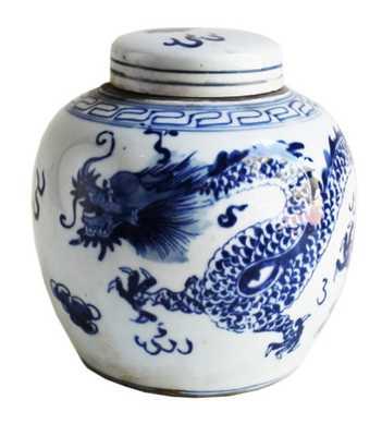 "Blue & White Dragon Ginger Jar, 6.5"" Small - High Street Market"