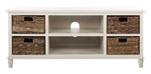 Rooney Entertainment Unit - Distressed White - Arlo Home - Arlo Home
