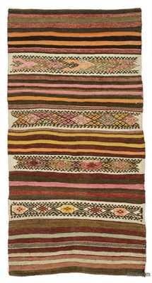 Multicolor Vintage Turkish Kilim Rug - 2'4'' x 4'6'' (28 in. x 54 in.) - Kilim
