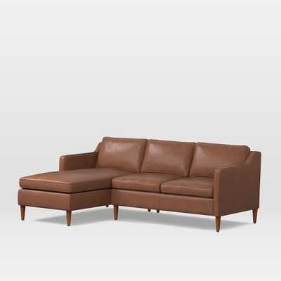 Hamilton Set 2: Right Arm Sofa, Left Arm Chaise, Charme Leather, Cigar, Pecan - West Elm