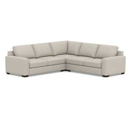 Big Sur Square Arm Upholstered 3-Piece L-Shaped Corner Sectional, Down Blend Wrapped Cushions, Performance Heathered Tweed Pebble - Pottery Barn
