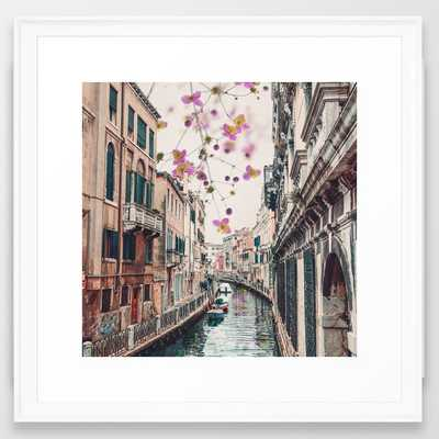 "Venice Floral Sky Framed Art Print - Scoop White - 22"" x 22"" - Society6"