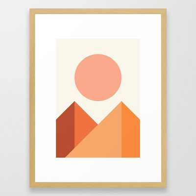 Geometric Mountains 04 Framed Art Print by The Old Art Studio - Conservation Natural - medium - Society6