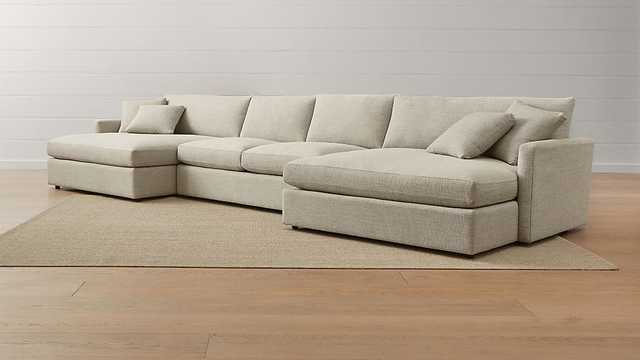 Lounge II 3-Piece Double Chaise Sectional Sofa - Crate and Barrel