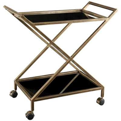 Lexington Modern Classic Antique Gold Black Glass Bar Cart - Kathy Kuo Home