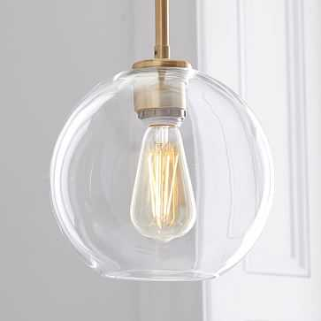 Sculptural Glass Shade, Small Globe, Clear - West Elm