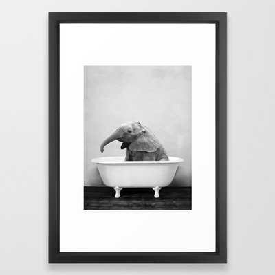 Baby Elephant Taking A Bath Framed Art Print // Vector Black frame // 15x21 - Society6