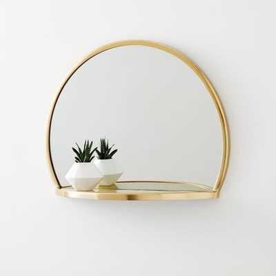 Decorated Brass Circle Shelf Mirror - West Elm