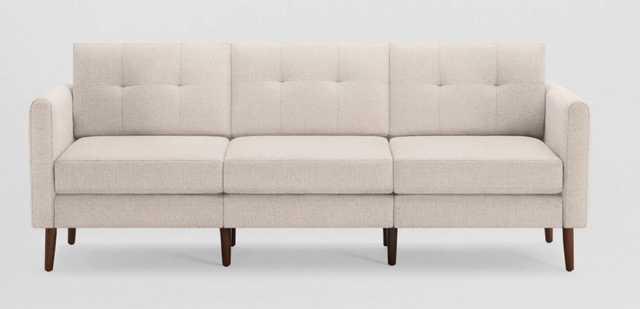 Nomad Sofa -ivory - walnut legs - high arms - Burrow