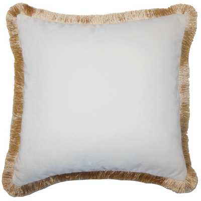 "Belle Holiday Pillow Gold Fringe, 20"" x 20"" square throw pillow - Linen & Seam"