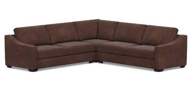 Big Sur Slope Arm Leather 3-Piece L-Shaped Corner Sectional, Down Blend Wrapped Cushions, Nubuck Cocoa - Pottery Barn