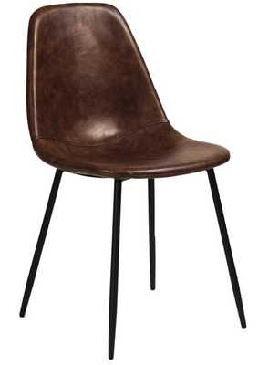 Aeon Furniture Maxine Upholstered Dining Chair -TOBACCO - Faux Leather - Set of 2 - Hayneedle