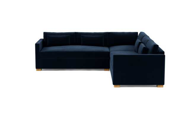 "Charly Corner Sectional, Navy, 104"" Natural Oak leg - Interior Define"