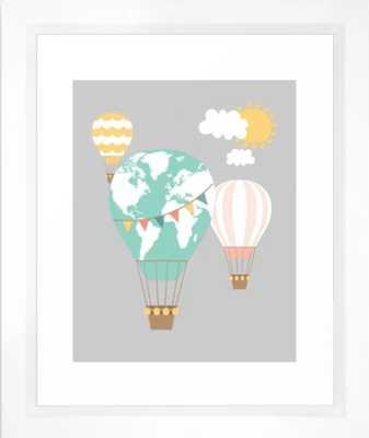 World map hot air balloons Framed Art Print - Society6