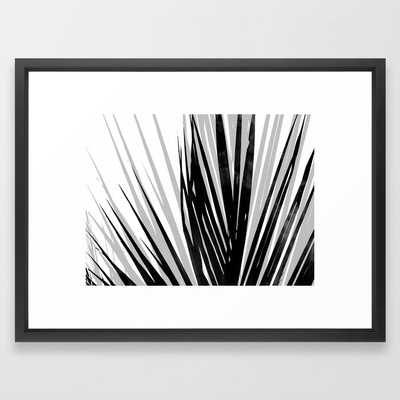Contemporary Palm Leaf in Black and White - Horizontal Framed Art Print by GalleryJ9 - Society6