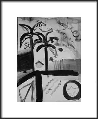 Poolside Palms- 16 x 20 -Matte Black Metal, frame, with matte - Artfully Walls