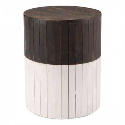 Wooden Round Garden Seat Brn & Wht - Zuri Studios