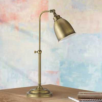 Antique Brass Metal Adjustable Pole Pharmacy Desk Lamp - Lamps Plus