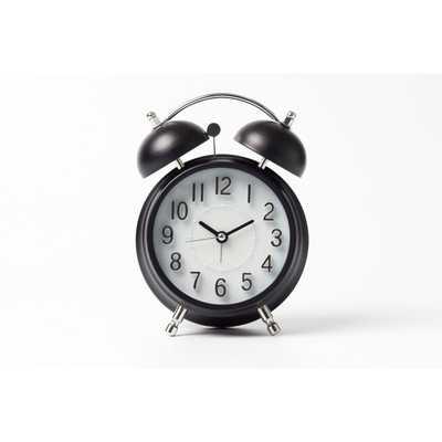Vintage Modern Twin Bell Alarm Table Clock Black/Silver - Crosley - Target