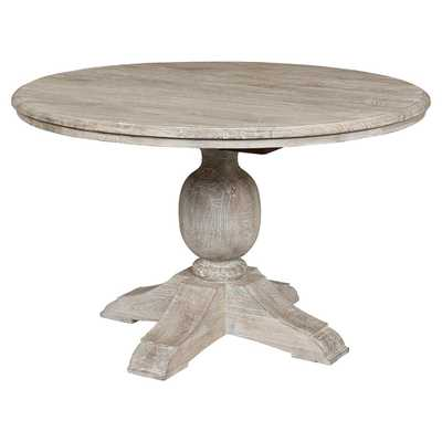 Tommy Rustic Lodge Antique White Round Dining Table, Small - 48D - Kathy Kuo Home