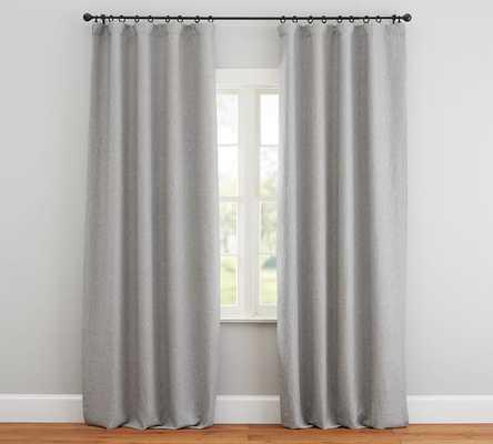 "Custom Classic Belgian Flax Linen Rod Pocket Blackout Curtain, Chambray Gray, 72 x 120"" - Pottery Barn"
