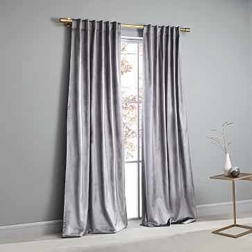 """Cotton Luster Velvet Curtain, Unlined, Individual, Pewter, 48""""x96"""" - West Elm"""