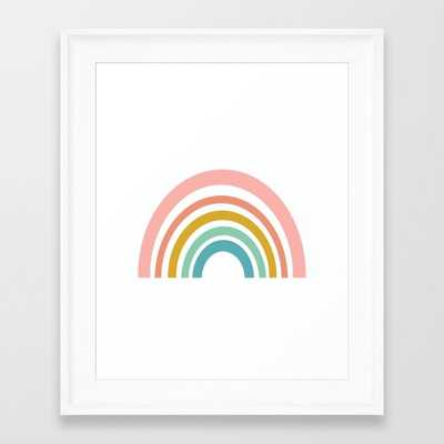 "Simple Happy Rainbow Art Framed Art Print - X-Small - 10"" X 12"" - Scoop White - Society6"