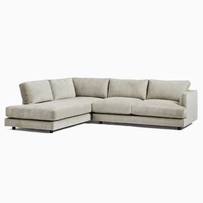 Haven Sectional Set 02: Right Arm Sofa + Left Arm Terminal Chaise,Light Taupe,Distressed Velvet,Concealed Supports - West Elm