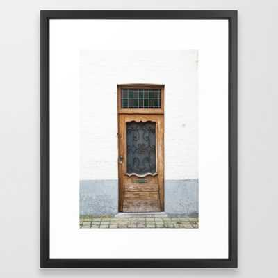 Wood Door with Wrought Iron Detail, Bruges Framed Art Print - Society6