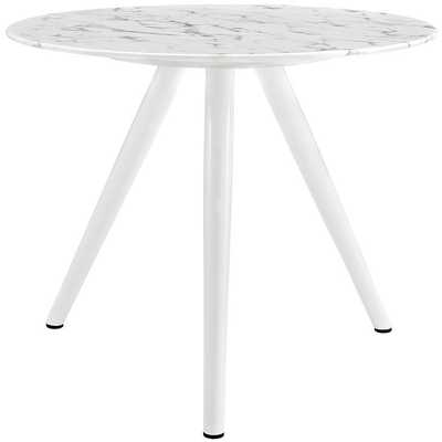 "LIPPA 36"" ROUND ARTIFICIAL MARBLE DINING TABLE WITH TRIPOD BASE IN WHITE - Modway Furniture"