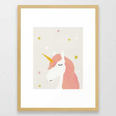 Unicorn, Mid century modern kids wall art, Nursery room Framed Art Print - Society6