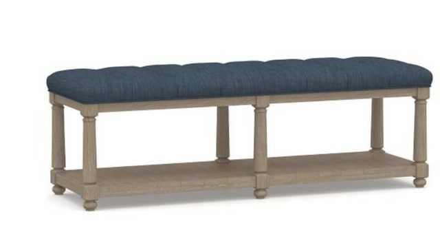 Berlin Tufted Bench, Performance Heathered Tweed Indigo - Pottery Barn