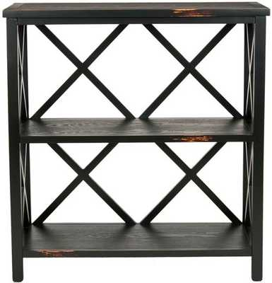 Lucas 2 Tier Low Etagere - Distressed Black - Arlo Home - Arlo Home