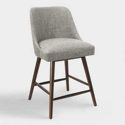 Linen Blend Kian Upholstered Counter Stool: Gray - Fabric - Charcoal by World Market Charcoal - World Market/Cost Plus