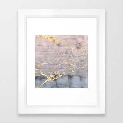 Watercolor Gradient Gold Foil IV Framed Art Print - Society6